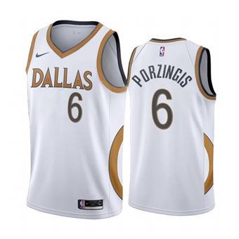 Men's Dallas Mavericks #6 Kristaps Porzingis White City Edition New Uniform 2020-21 Stitched Basketball Jersey