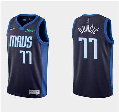 Men's Dallas Mavericks #77 Luka Doncic Black and Blue Stitched Basketball Jersey