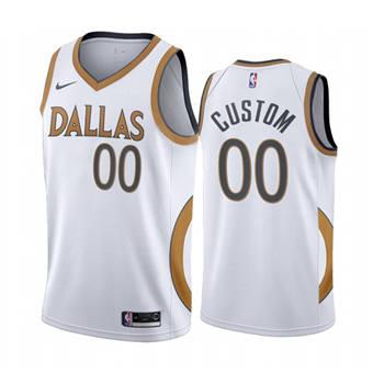 Men's Dallas Mavericks Active Player Custom White City Edition 2020-21 Stitched Basketball Jersey