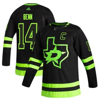Men's Dallas Stars #14 Jamie Benn Black 2020-21 Reverse Retro Alternate Hockey Jersey