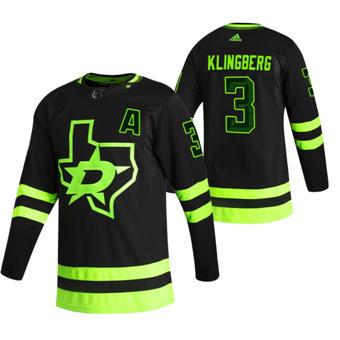 Men's Dallas Stars #3 John Klingberg Black 2020-21 Reverse Retro Alternate Hockey Jersey