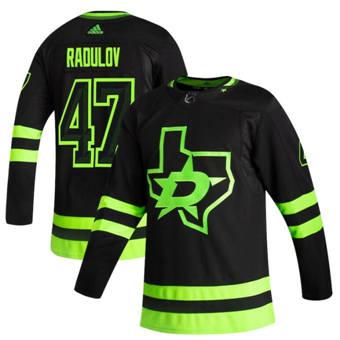 Men's Dallas Stars #47 Alexander Radulov Black 2020-21 Reverse Retro Alternate Hockey Jersey