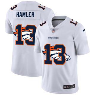 Men's Denver Broncos #13 KJ Hamler White Team Logo Dual Overlap Limited Football Jersey