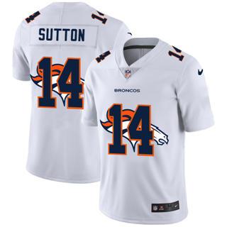 Men's Denver Broncos #14 Courtland Sutton White Team Logo Dual Overlap Limited Football Jersey