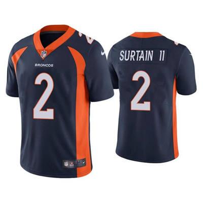 Men's Denver Broncos #2 Patrick Surtain II 2021 Football Draft Black Vapor Untouchable Limited Stitched Jersey