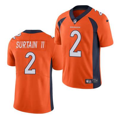 Men's Denver Broncos #2 Patrick Surtain II 2021 Football Draft Orange Vapor Untouchable Limited Stitched Jersey