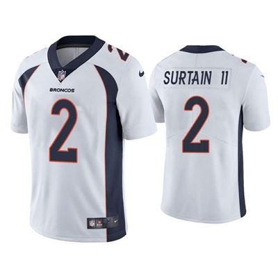 Men's Denver Broncos #2 Patrick Surtain II 2021 Football Draft White Vapor Untouchable Limited Stitched Jersey