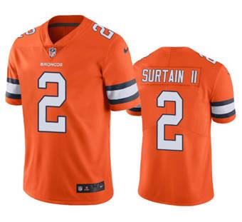 Men's Denver Broncos #2 Patrick Surtain II 2021 Orange Color Rush Stitched Football Jersey