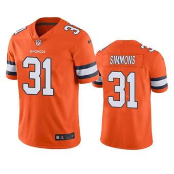 Men's Denver Broncos #31 Justin Simmons Orange Color Rush Limited Stitched Jersey