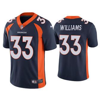 Men's Denver Broncos #33 Javonte Williams Navy Vapor Untouchable Limited Stitched Jersey