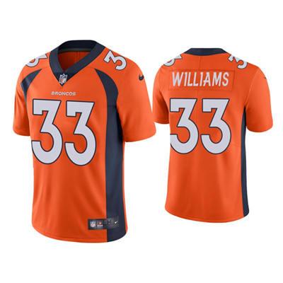 Men's Denver Broncos #33 Javonte Williams Orange Vapor Untouchable Limited Stitched Jersey