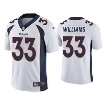 Men's Denver Broncos #33 Javonte Williams White Vapor Untouchable Limited Stitched Jersey