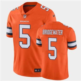 Men's Denver Broncos #5 Teddy Bridgewater 2021 Orange Color Rush Stitched Football Jersey