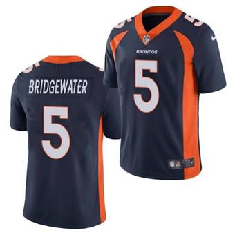 Men's Denver Broncos #5 Teddy Bridgewater Navy Vapor Untouchable Limited Stitched Jersey