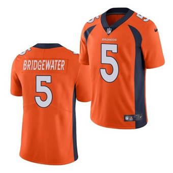 Men's Denver Broncos #5 Teddy Bridgewater Orange Vapor Untouchable Limited Stitched Jersey