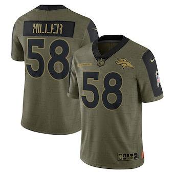 Men's Denver Broncos Von Miller Football Olive 2021 Salute To Service Limited Player Jersey