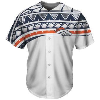 Men's Denver Broncos White Baseball Jersey