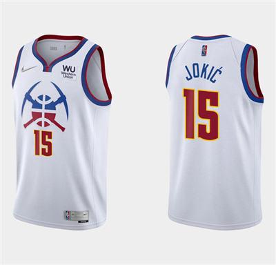 Men's Denver Nuggets #15 Nikola Jokic Earned Edition White Stitched Basketball Jersey