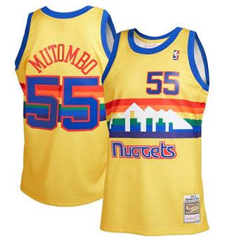 Men's Denver Nuggets #55 Dikembe Mutombo 1991-92 Yellow Mitchell & Ness Stitched Basketball Jersey