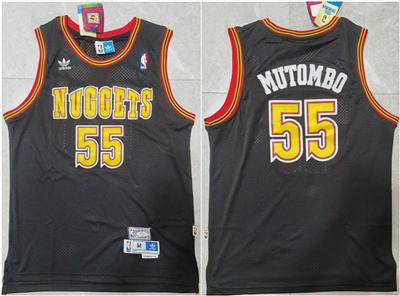 Men's Denver Nuggets #55 Dikembe Mutombo Black Throwback Stitched Basketball Jersey