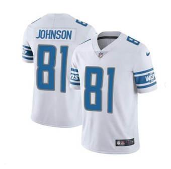 Men's Detroit Lions #18 Calvin Johnson White Vapor Untouchable Limited Stitched Jersey