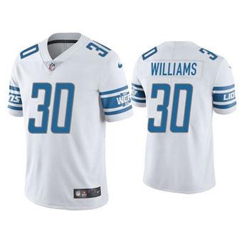 Men's Detroit Lions #30 Jamaal Williams White Vapor Untouchable Limited Stitched Jersey