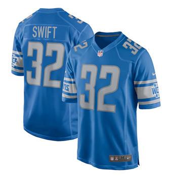 Men's Detroit Lions #32 D'Andre Swift Blue Stitched Football Jersey