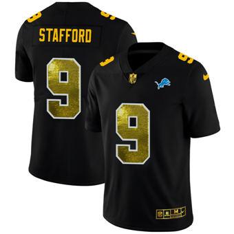 Men's Detroit Lions #9 Matthew Stafford Black Golden Sequin Vapor Limited Football Jersey