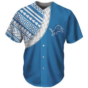 Men's Detroit Lions Blue Baseball Jersey