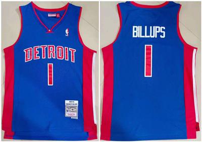 Men's Detroit Pistons #1 Chauncey Billups 2003-04 Blue Throwback Stitched Basketball Jersey