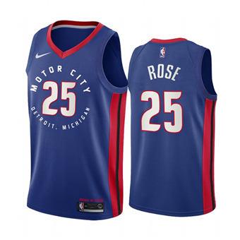 Men's Detroit Pistons #25 Derrick Rose Navy Motor City Edition 2020-21 Stitched Basketball Jersey