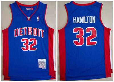 Men's Detroit Pistons #32 Richard Hamilton 2003-04 Blue Throwback Stitched Basketball Jersey