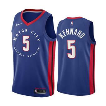 Men's Detroit Pistons #5 Luke Kennard Navy Motor City Edition 2020-21 Stitched Basketball Jersey