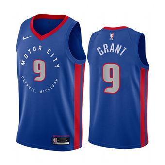 Men's Detroit Pistons #9 Jerami Grant Blue 2020-2021 Stitched Basketball Jersey
