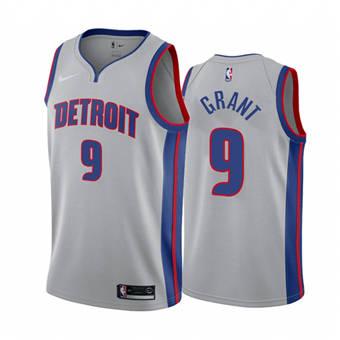 Men's Detroit Pistons #9 Jerami Grant Gray 2020-2021 Stitched Basketball Jersey