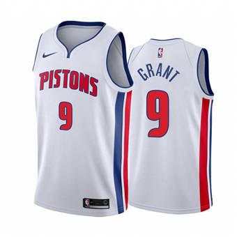 Men's Detroit Pistons #9 Jerami Grant White 2020-2021 Stitched Basketball Jersey
