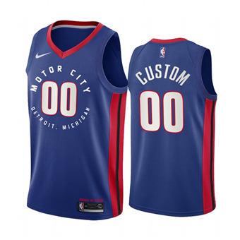 Men's Detroit Pistons Customized Navy Motor City Edition 2020-21 Stitched Basketball Jersey