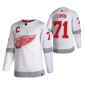 Men's Detroit Red Wings #71 Dylan Larkin White 2020-21 Reverse Retro Alternate Hockey Jersey