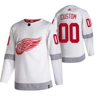 Men's Detroit Red Wings Custom White 2020-21 Reverse Retro Alternate Hockey Jersey