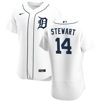 Men's Detroit Tigers #14 Christin Stewart White Home 2020 Authentic Player Baseball Jersey