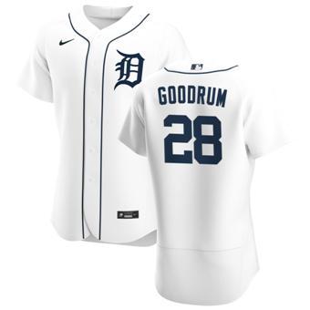 Men's Detroit Tigers #28 Niko Goodrum White Home 2020 Authentic Player Baseball Jersey