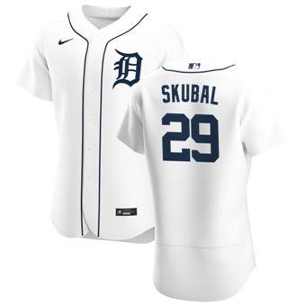 Men's Detroit Tigers #29 Tarik Skubal White Home 2020 Authentic Player Baseball Jersey