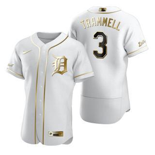 Men's Detroit Tigers #3 Alan Trammell White 2020 Authentic Golden Edition Baseball Jersey