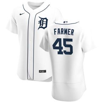 Men's Detroit Tigers #45 Buck Farmer White Home 2020 Authentic Player Baseball Jersey