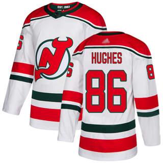 Men's Devils #86 Jack Hughes White Alternate  Stitched Hockey Jersey