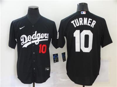 Men's Dodgers #10 Justin Turner Black 2020 Turn Back The Clock Baseball Jersey