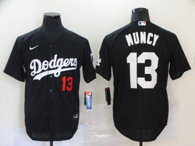 Men's Dodgers #13 Max Muncy Black 2020 Turn Back The Clock Baseball Jersey