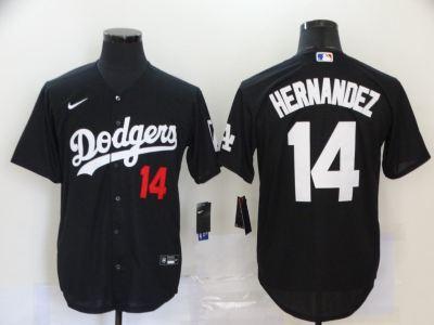 Men's Dodgers #14 Enrique Hernandez Black 2020 Turn Back The Clock Baseball Jersey
