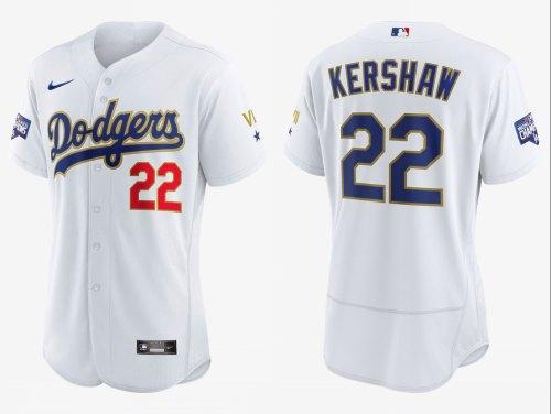 Men's Dodgers #22 Clayton Kershaw White Gold 2021 Gold Program Authentic Baseball Jersey