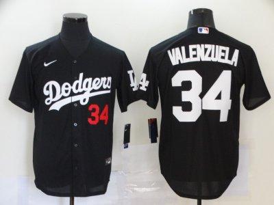 Men's Dodgers #34 Fernando Valenzuela Black 2020 Turn Back The Clock Baseball Jersey
